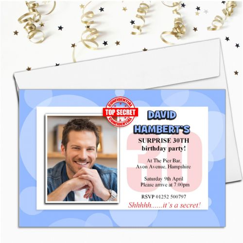 10 Personalised Surprise Secret PHOTO Invitations N61 - Any Age!